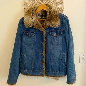 Fabio Denim Blue Jean Jacket Faux Fur 😴